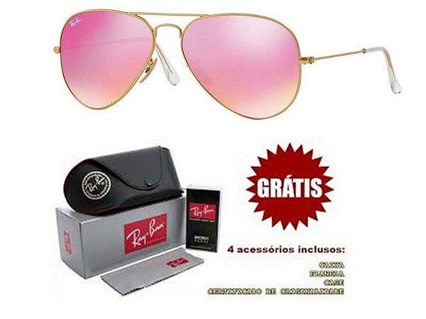 9d25d9dd7c2fe Óculos Rayban Aviador lente Rosa Espelhado Frete Grátis - Outlet ...