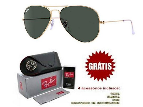 d55b841a7 Óculos Rayban Aviador lente Preta Armação Dourada Frete Grátis ...