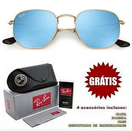 Óculos Rayban Hexagonal lente Azul Espelhada Frete Grátis
