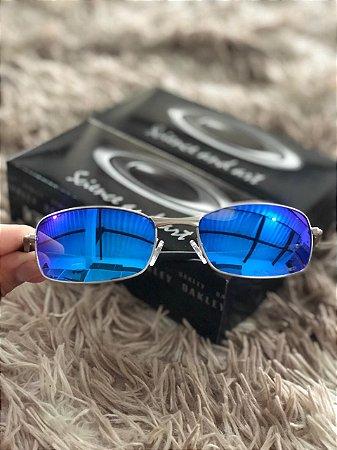 ef70f6039 Óculos Oakley Square Wire 2.0 Lente Azul Armação Prata Lente Frete ...