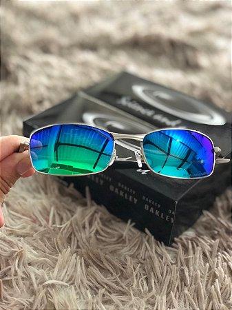 Óculos Oakley Square Wire 2.0 Lente Verde Armação Prata Frete Grátis