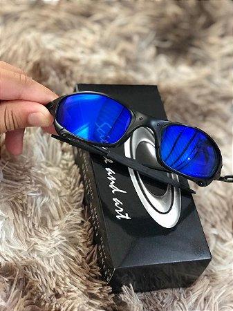 Óculos Oakley Juliet Lente Azul Escuro Armação Preta Frete Grátis ... 62fa68ee959