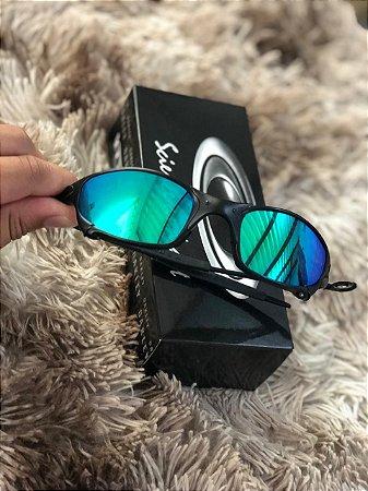Óculos Oakley Juliet Lente Verde Espelhado Armação Preta Frete Grátis