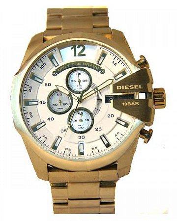 Relógio Importado Diesel Only The Brave Dourado Branco Frete Grátis