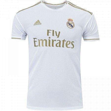 Camisa Real Madrid Branca Com Dourado 19/20 adidas - Masculina Frete Grátis