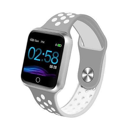 Relógio Smartwatch Esportivo Cinza branco Frete Gratis