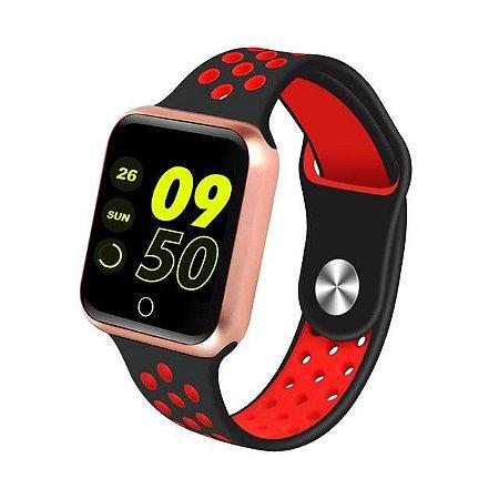 Relógio Smartwatch Esportivo Preto Com Vermelho Frete Gratis
