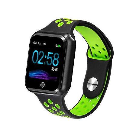 Relógio Smartwatch Esportivo Preto Com Verde Frete Gratis
