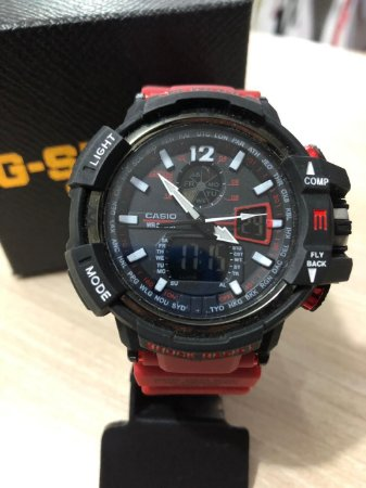Relógio G-Shock Preto Pulsiera Vermelha Frete Gratis