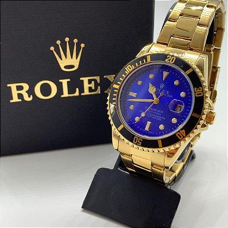 Relógio Rolex Submariner Dourado Fundo Azul Frete Grátis