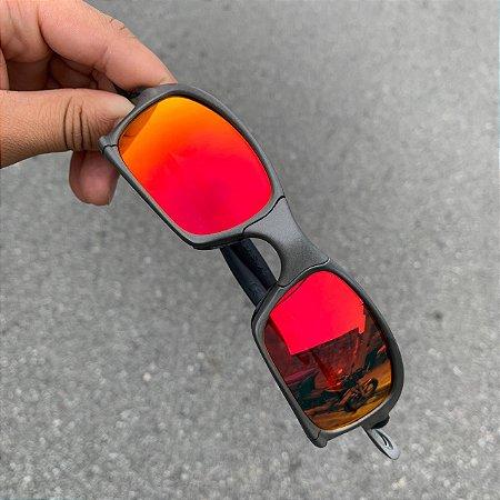Oculos Squared Lente Vermelha Brilho Reto Armação X-Metal Frete Grátis