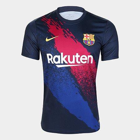 Camisa Barcelona Uniforme Azul Escuro 19/20 Nike - Masculina Frete Grátis