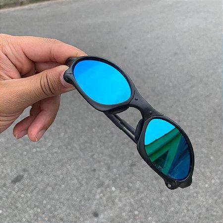 Óculos Oakley Penny Lente Azul Brilho Reto Armação Preta Frete Grátis
