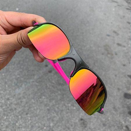 Óculos Oakley Romeo 2 Lente Rosa Brilho Reto Armação X-Metal Frete Grátis