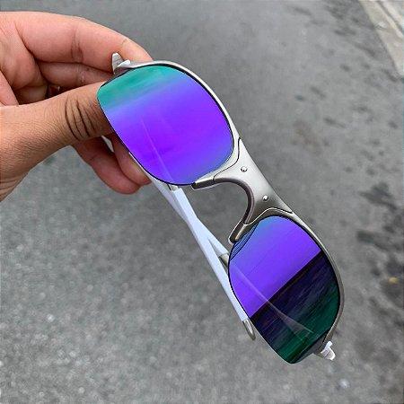 Óculos Oakley Romeo 2 Lente Roxa Brilho Reto Armação Plasma Frete Grátis