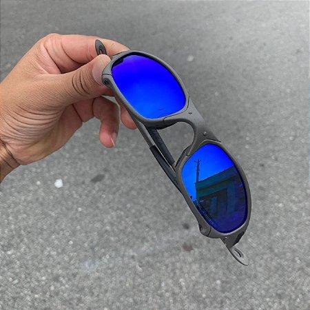 Oculos Oakley Juliet Lente Azul Escuro Brilho Reto Armção X-Metal Frete Grátis