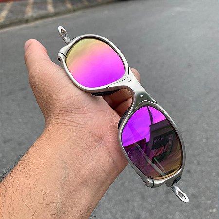 Óculos Oakley Double-X Lente Roxa Brilho Reto Armação Plasma Frete Grátis