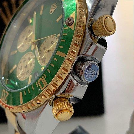 Relógio New Rolex Prata Com Dourado Fundo Verde Frete Grátis