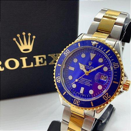 Relógio Rolex Submariner Prata Com Dourado Fundo Azul Frete Grátis