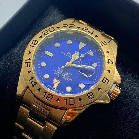 Relógio Rolex Explorer Dourado Com Fundo Azul Frete Grátis