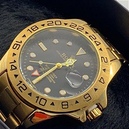 Relógio Rolex Explorer Dourado Com Fundo Preto Frete Grátis