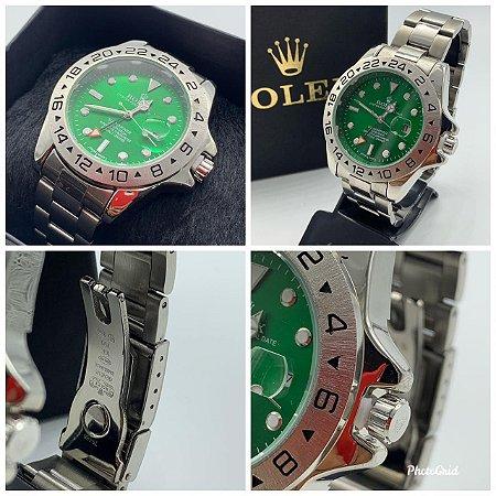 Relógio Rolex Explorer Prata Com Fundo Verde Frete Gratis