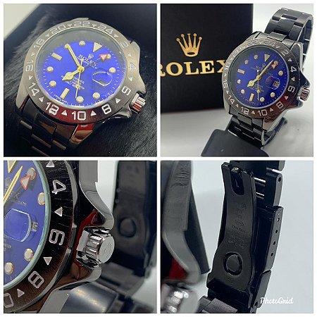 Relógio Rolex Explorer Preto Com Fundo Azul Frete Grátis
