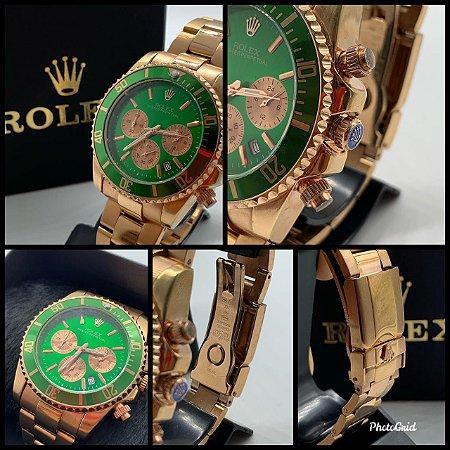 Relógio New Rolex Rose Com Fundo Verde Frete Grátis