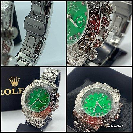 Relógio Rolex Prata Com Fundo Verde Frete Grátis Ref01
