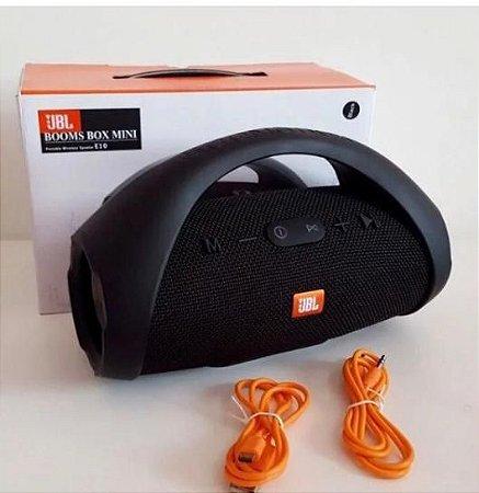 Caixa De Som Potente Mini Boombox Portatil Preta Usb Bluetooth Fm Frete Grátis