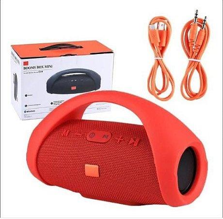 Caixa De Som Potente Mini Boombox Portatil Vermelha Usb Bluetooth Fm Frete Grátis