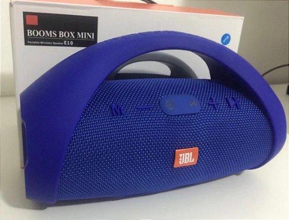 Caixa De Som Potente Mini Boombox Portatil Azul Usb Bluetooth Fm Frete Grátis