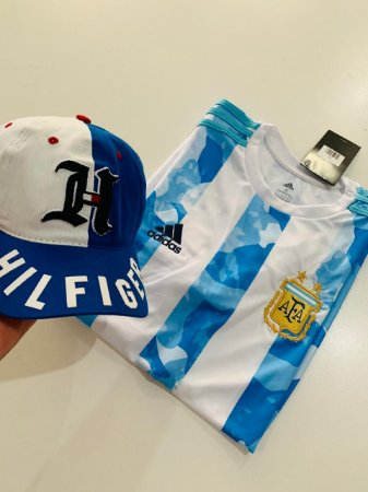 Kit Camiseta Argentina + Boné Tommy Com Frete Grátis