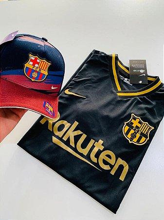 Kit Camiseta Barcelona Preta + Boné Aba Vinho Frete Grátis