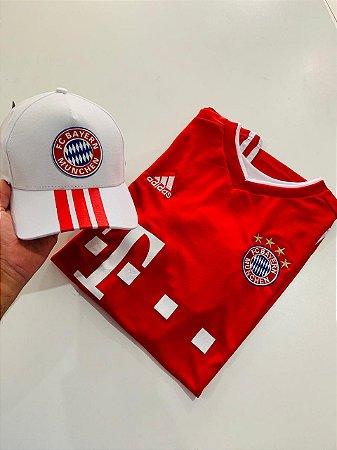 Kit Camiseta Bayern Vermelha + Boné Com Frete Grátis