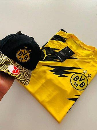 Kit Camiseta Borussia Dortmund Amarela + Boné Com Frete Grátis