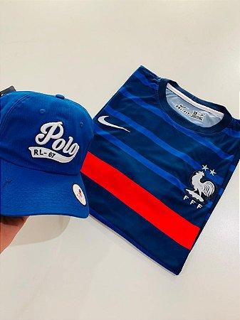 Kit Camiseta França + Boné Polo Com Frete Grátis