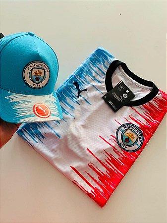 Kit Camiseta Manchester City + Boné com Frete Grátis