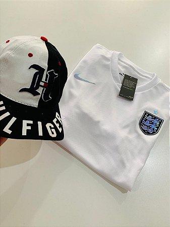 Kit Camiseta Inglaterra Branca + Bone Tommy Com Frete Grátis
