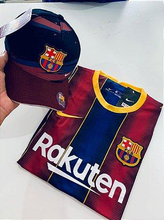 Kit Camiseta Barcelona 2021 + Bone Com Frete Grátis