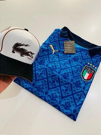 Kit Camiseta Itália Azul + Boné Lacoste Com Frete Grátis