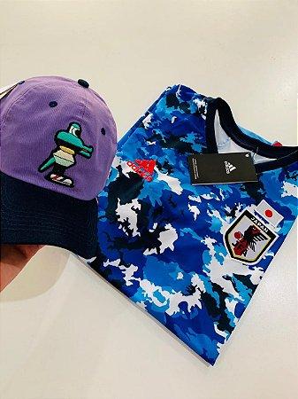 Kit Camiseta Japão Azul + Boné Com Frete Grátis