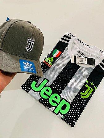 Kit Camiseta Juventus Detalhes Verde + Boné Com Frete Grátis