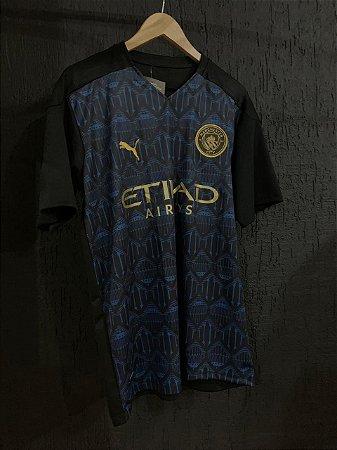 Camiseta Manchester City Azul Com Dourado 2021 Com Frete Grátis