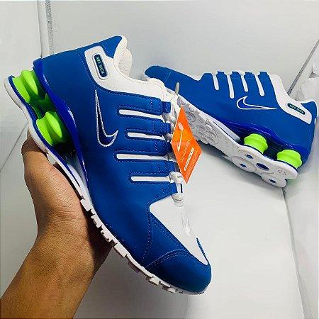 Ténis Nike Shox Nz Azul Com Detalhe Verde Com Frete Grátis