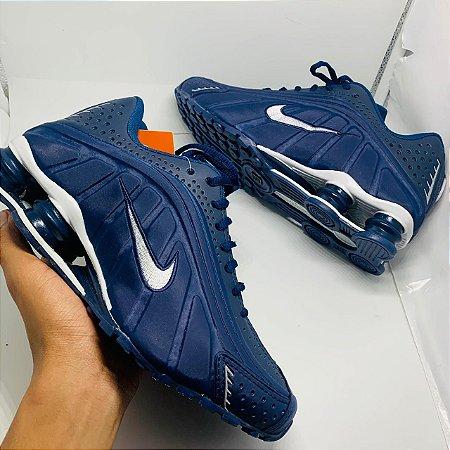 Ténis Nike Shox R4 Azul Marinho Com Frete Grátis