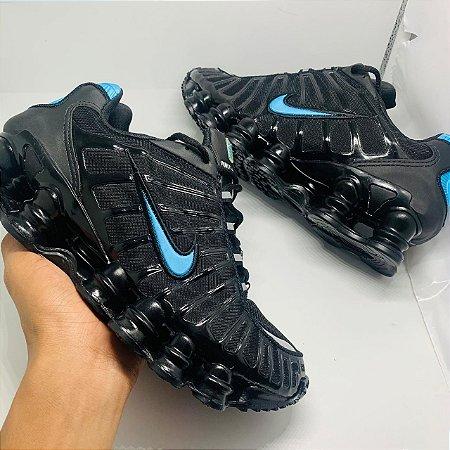 Ténis Nike 12 Molas Preto Com Azul Com Frete Grátis