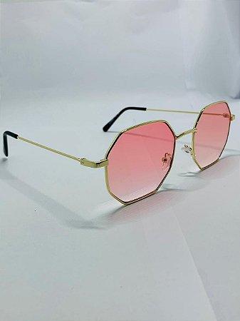 Oculos De sol Hexagonal Dourado Rosa