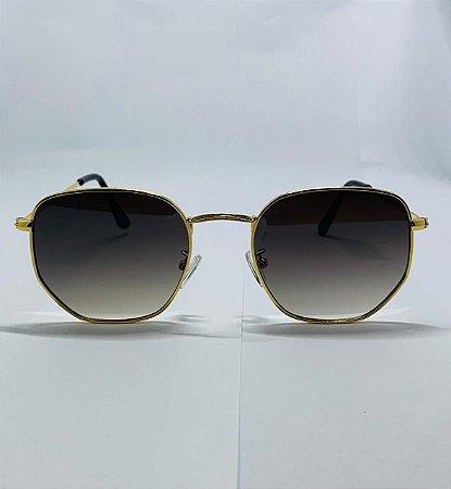 Oculos Berlim Hexagonal Dourado Com Degradê Preto