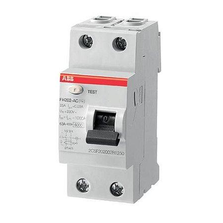 FH202 AC-25/0,03 - Interruptor Diferencial - Bipolar - Tipo AC - 25A - Residual 30mA - Icn:6KA - Umax:440V1TMF202006R1250ABB